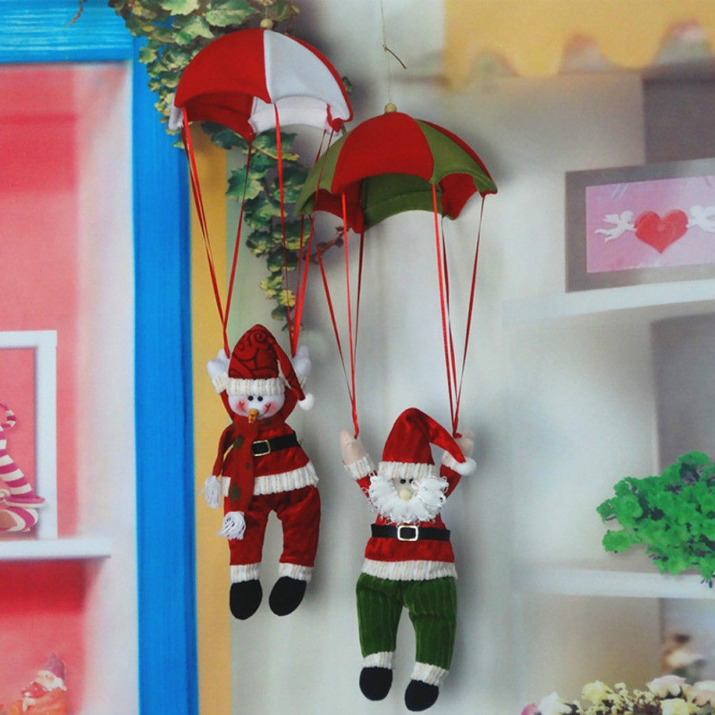 Christmas Home Ceiling Decorations Parachute Santa Claus Snowman New Year Hanging Pendant Festival Gift In Drop Ornaments From