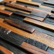Patrón de franjas de madera ladrillo azulejo azulejos baño ducha, de madera natural de mosaico backsplash de la cocina de estilo rústico casa renovar