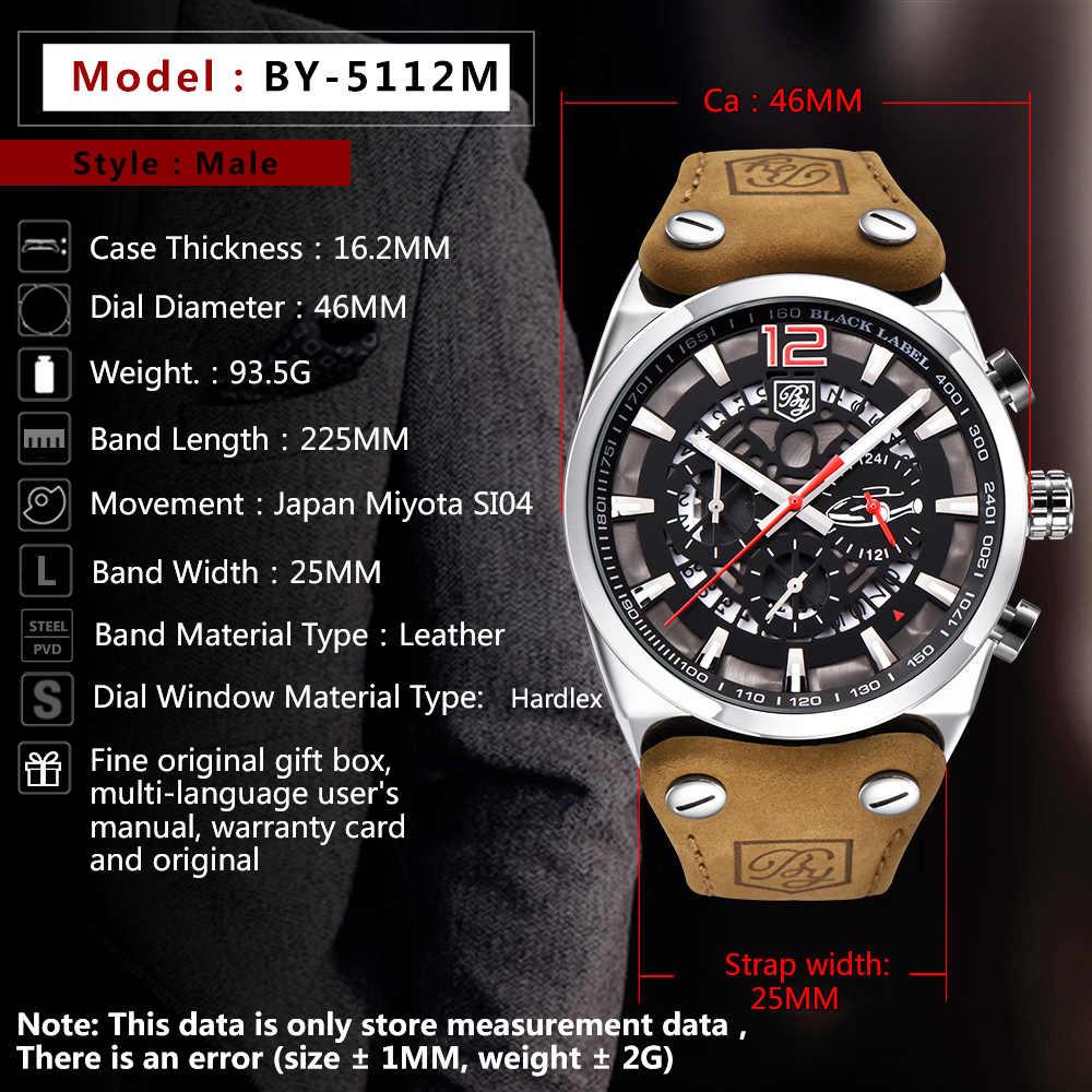 BENYAR Merk Heren Horloges Militaire Waterdicht Leer Quartz Chronograaf Sport Polshorloge Mannen Relogio Masculino + box BY-5112M