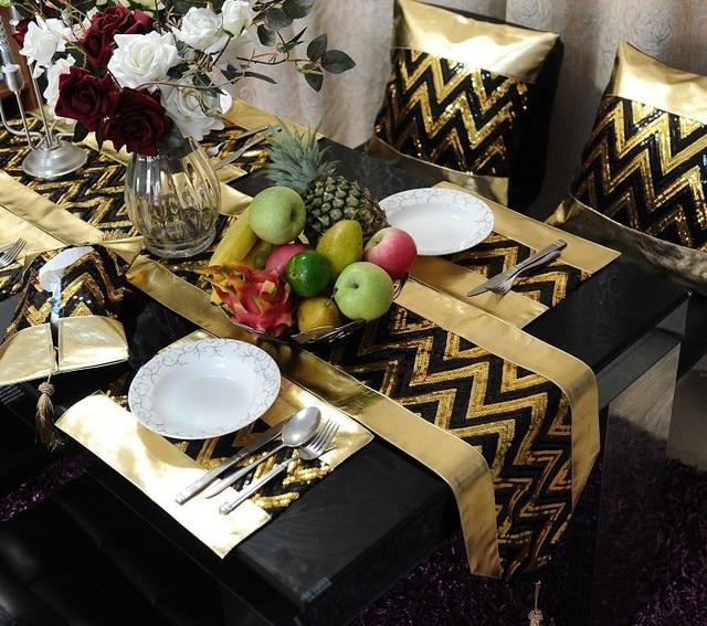 Wonderful Wholesale Gold Black Table Set /blingbling Table Runner /pillow Cover  /place Mat/