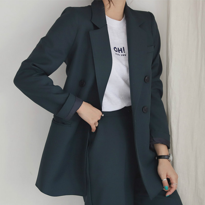 Women's Suit 2019 Autumn New High Quality Fabric Solid Color Business Slim Temperament Suit Jacket Wide Leg Pants Suit