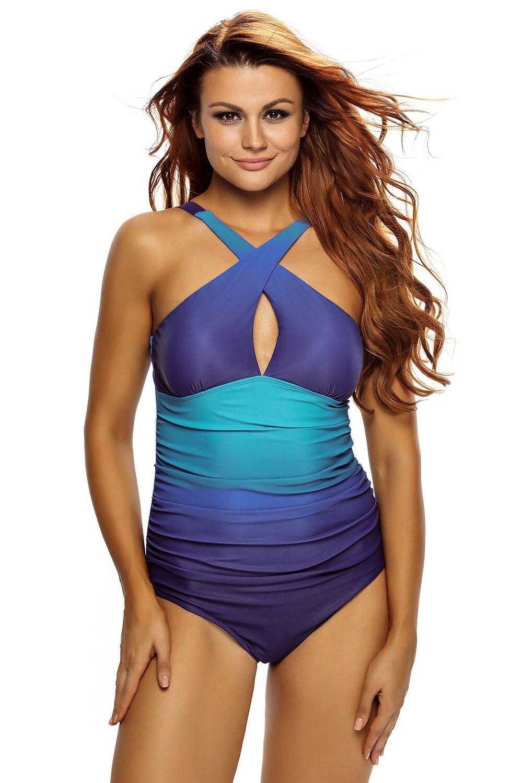 Sexy Women Straps Crossed Back Wavy Ocean Flavor One Piece Swimsuit Bikini Teddy Swimwear Monokini Bathingsuit BeachwearJumpsuit