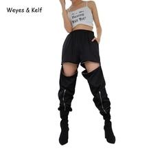 Weyes & Kelf Fashion High Waist Zipper Removable Womens Pants Black Streetwear Elastic Pencil Harem