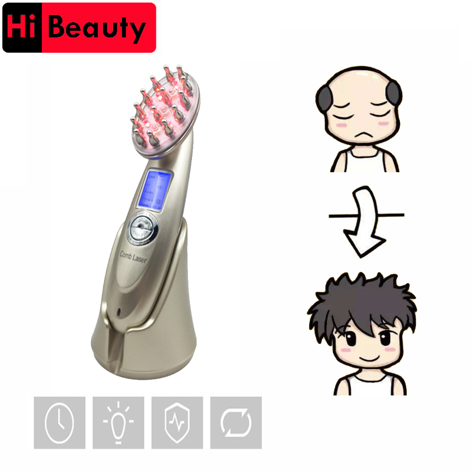Rechargeable LED Microcurrent Laser Regrowth Hair Growth Comb Brush Scalp Massager RF Radio Frequency Photon Anti Hair Loss laser hair growth comb 6 color led light micro current for hair massage remove scurf n repair hair hair loss