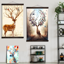 Nordic Love Sika Deers Modern Art Wall Painting Poster Vintage Canvas Prints and Posters Decoration Home Pictures for Bedroom