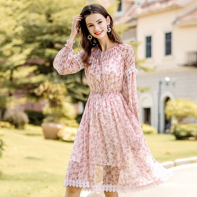 2018 Fall New Brand Women S Wear Round Neck Lantern Long Sleeved Chiffon A Dress
