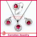 Carraton SXF3010 Flower Shaped Red Stone White Gold Plated Women Jewellery Sets