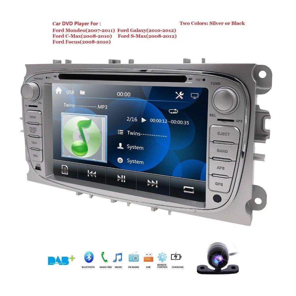 Lecteur DVD de voiture Double 2 Din GPS Navi pour Ford Focus Mondeo Galaxy avec Radio Audio stéréo unité de tête libre Canbus SWC RDS DAB + CAM