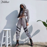Nibber reflective jacket casual pants 2pieces sets womens 2019 hot sale Hoodie Active suit fashion party night casual wear mujer
