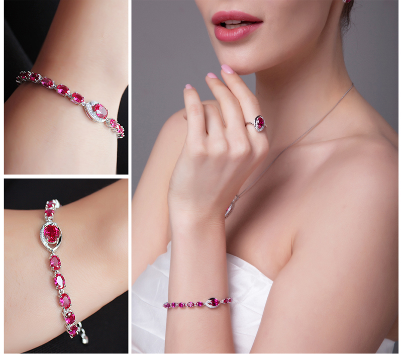 JewelryPalace Eye 10.8ct Created Red Ruby Link Bracelet 925 Sterling Silver 6ra57skjF