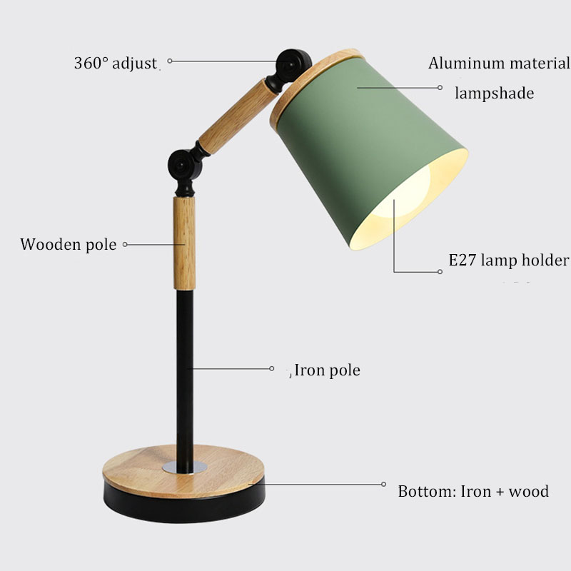 Led lamps indoor lighting Nordic led desk lamp wood with light source bedroom decorative lights eye protection reading lamps creative hose led desk lamps usb charger dimming lights reading desk lamps bedroom dormitory night light indoor lighting