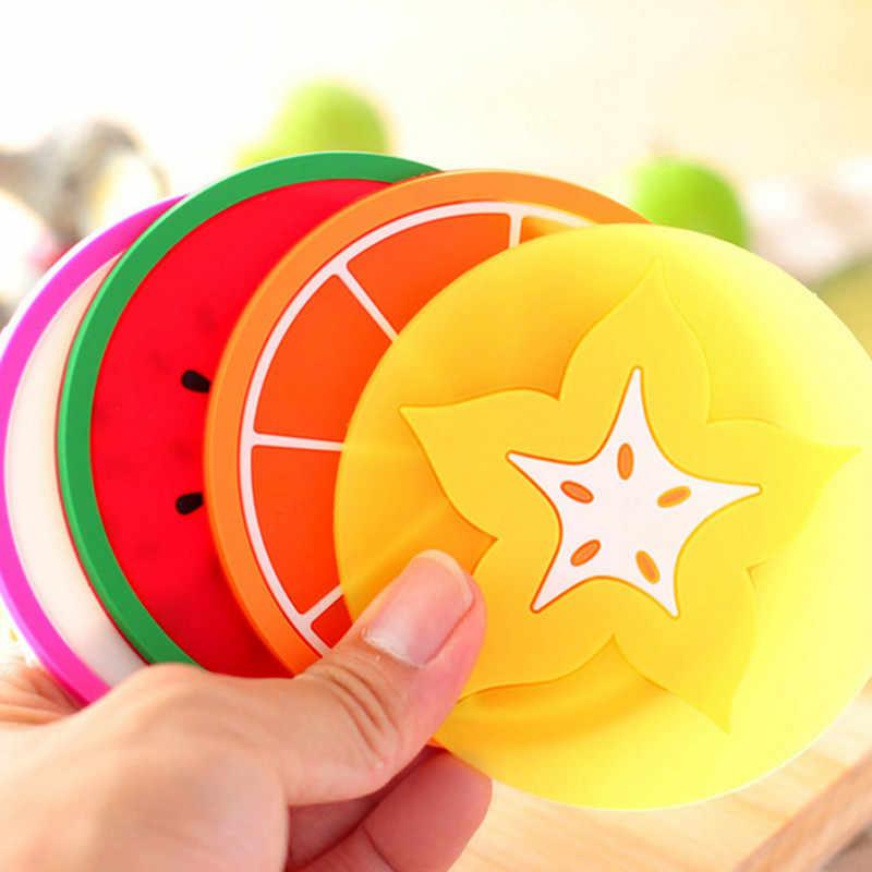 Buah Coaster Tatakan untuk Meja Makan Warna-warni Cangkir Minuman Dudukan Mat Tableware Table Mat Silikon Tatakan Mangkuk Minum Coasters