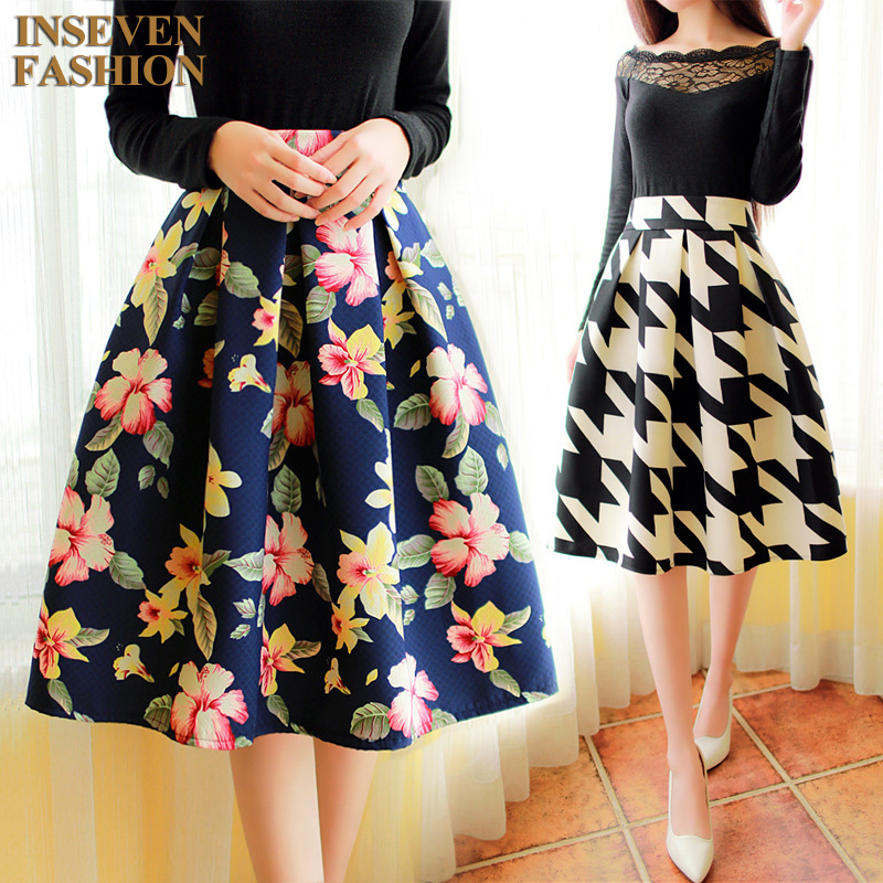 2017 Spring New Floral Print Midi Skirt Women Vintage Fashion Ladies High Waist Knee Length Pleated Houndstooth Flower DY5 In Skirts From Womens