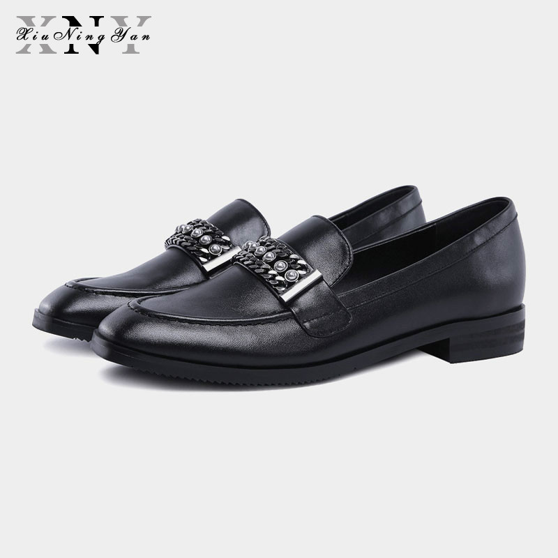 XiuNingYan Women Flats New British Style Oxford Shoes Women Soft Genuine Leather Casual Shoes Metal Decoration Flat Shoes Woman lovexss casual oxford shoes fashion metal decoration shallow shoes black purple genuine leather flats woman casual oxford shoes