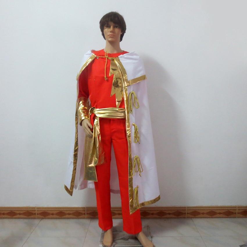 William Joseph Billy Batson Captain Marvel Shazam Cosplay Costume Customize Any Size