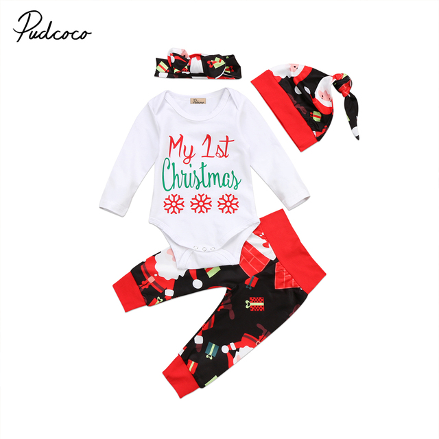 a893fb4fc9f2 4PCS My First Christmas Newborn Baby Boy Girls Outfits Clothes ...