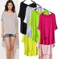 2015 Simple Moda de Verano Top De Las Mujeres Más El Tamaño de Caramelo Color Sólido Irregular Flojo Ocasional Camisa de La Blusa de Las Mujeres Tops Básicos camisa