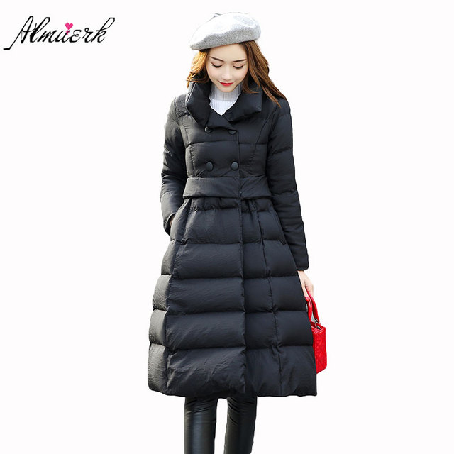 2017 new winter slim was thin lap big size knee knee down jacket medium length comfortable cloak big skirt warm jacket L011