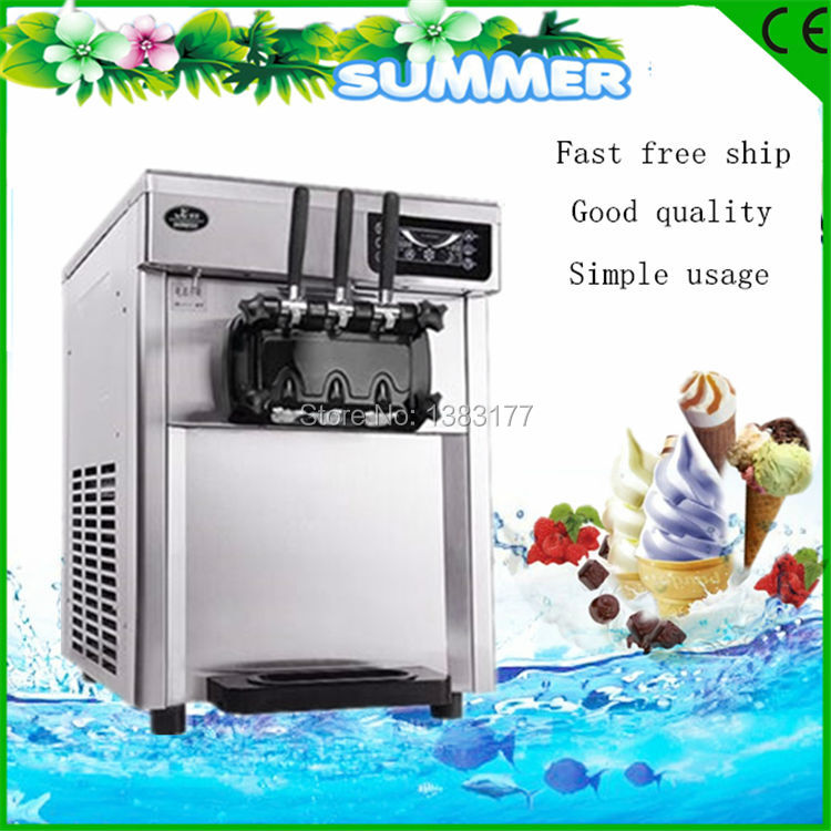 free ship new CE automatic commercial desktop Stainless Steel Three Flavor Ice Cream Machine/ LED sweet Soft Ice Cream Machine edtid new high quality small commercial ice machine household ice machine tea milk shop