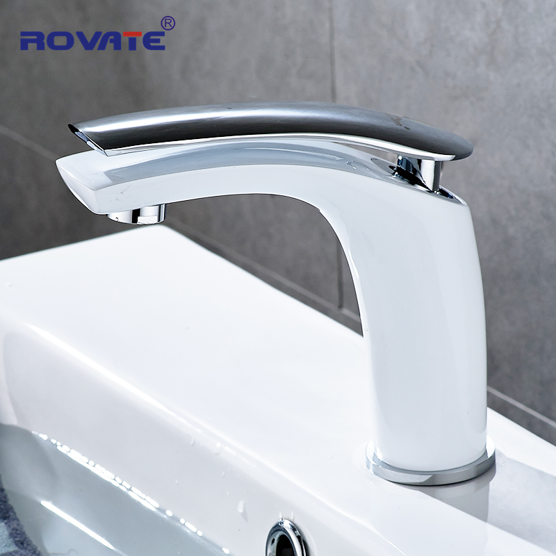 ROVATE бассейна кран Белый лица один держатель на одно отверстие установленный раковина краны холодной и горячей смеситель для Ванная комната...