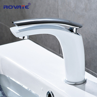 ROVATE Basin Faucet White Face Single Holder Single Hole Mounted Sink Taps Cold and Hot Mixer for Bathroom Black Basin Tap