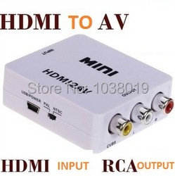 HDMI to AV / CVBS,Free shipping! Mini HD Video Converter Box L/R Video Adapter HDMI to cvbs+Audio Support NTSC and PAL Output