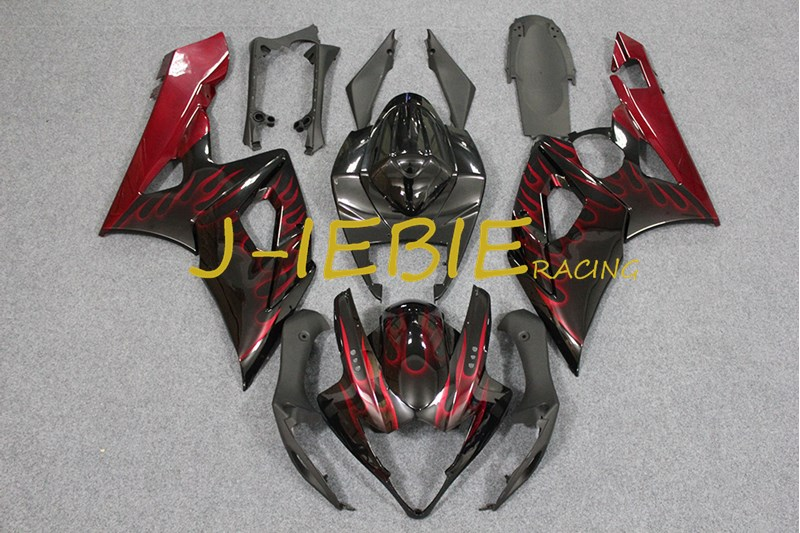 Black red fire Injection Fairing Body Work Frame Kit for SUZUKI GSXR 1000 GSXR1000 K5 2005 2006