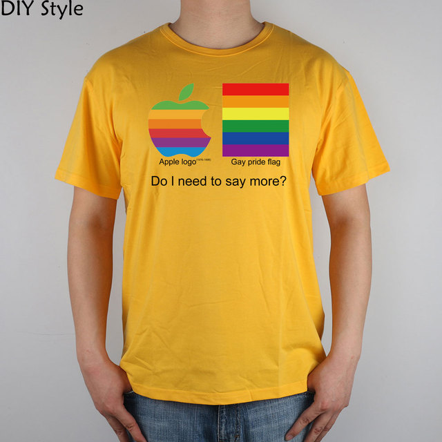 APPLE GAY PRIDE top lycra cotton short-sleeved T-shirt 3340 Fashion Brand t shirt men new high quality 2