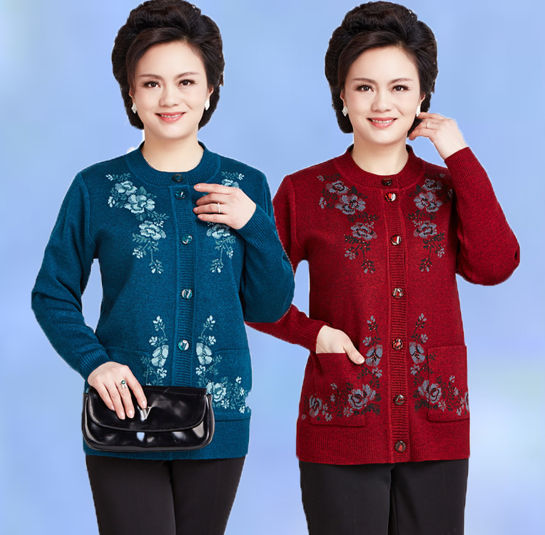 2018 In the elderly autumn and winter women sweater cardigan mother loaded sweater jacket 60-70 year-old grandmother sweater ...