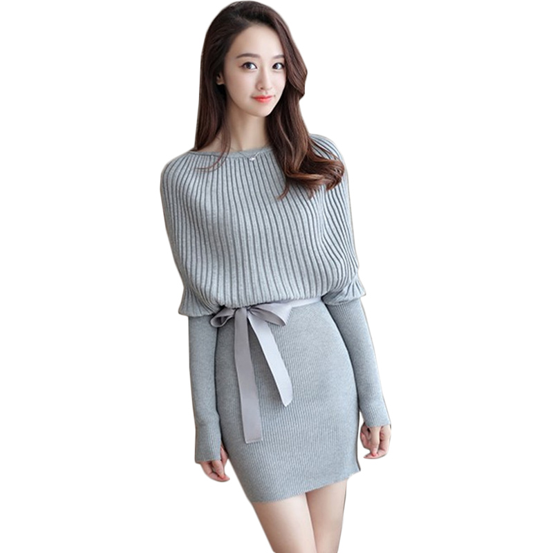2016 autumn korean elegant knitted slim sweater dress for women bat sleeve bow belt knit dresses package hip a line vestido
