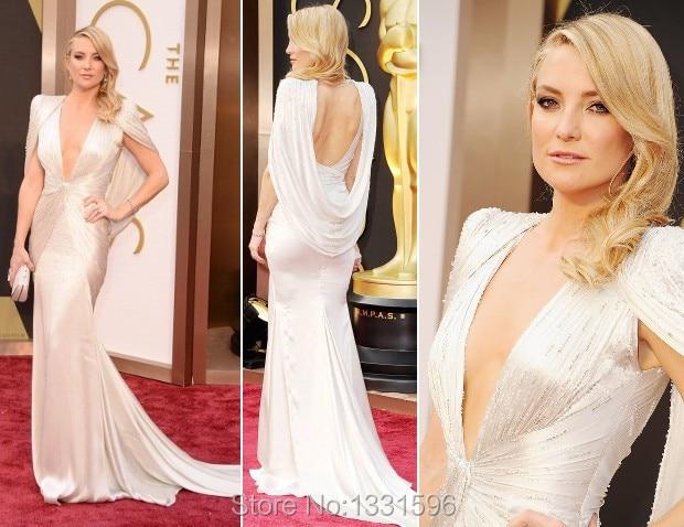 Kate Hudson Best Dressed Oscar Elegant V neck Short Cap Sleeve White
