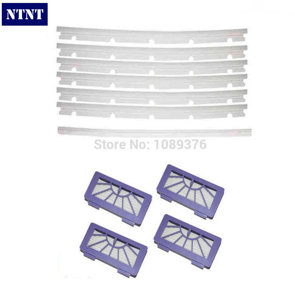 NTNT Free Shipping New 6 Blades and 1 Squeegee + 4 hepa Filters replace For Neato XV-11 xv-12 xv-14 galaxy g 19
