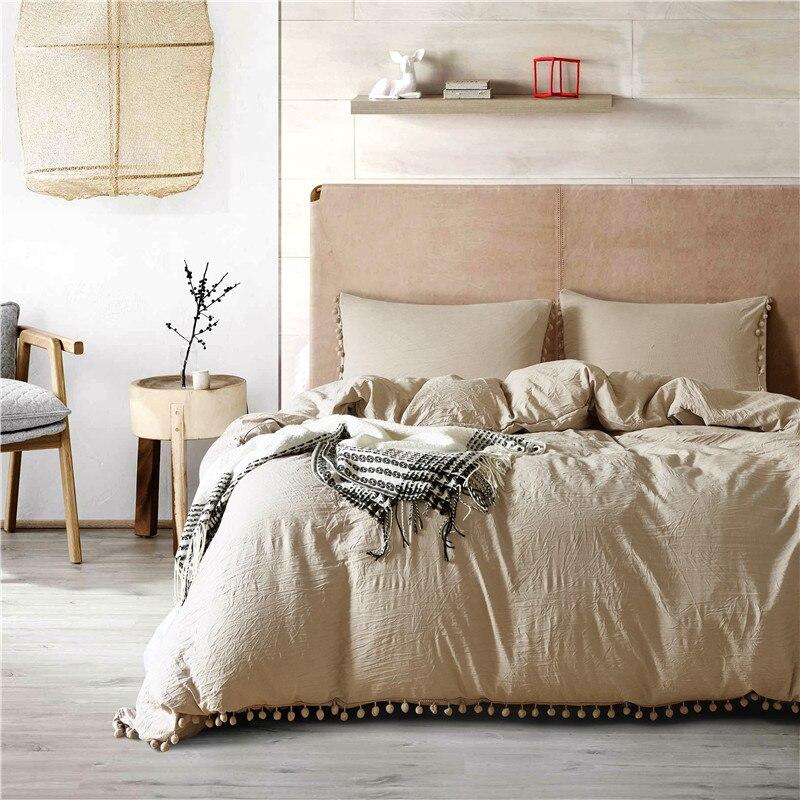 Simple Camel Solid Color Fashion Duvet Cover Set Single Double King Size 2pcs/3pcs Bedding Sets Bed Linen Bedspreads Pillowcase