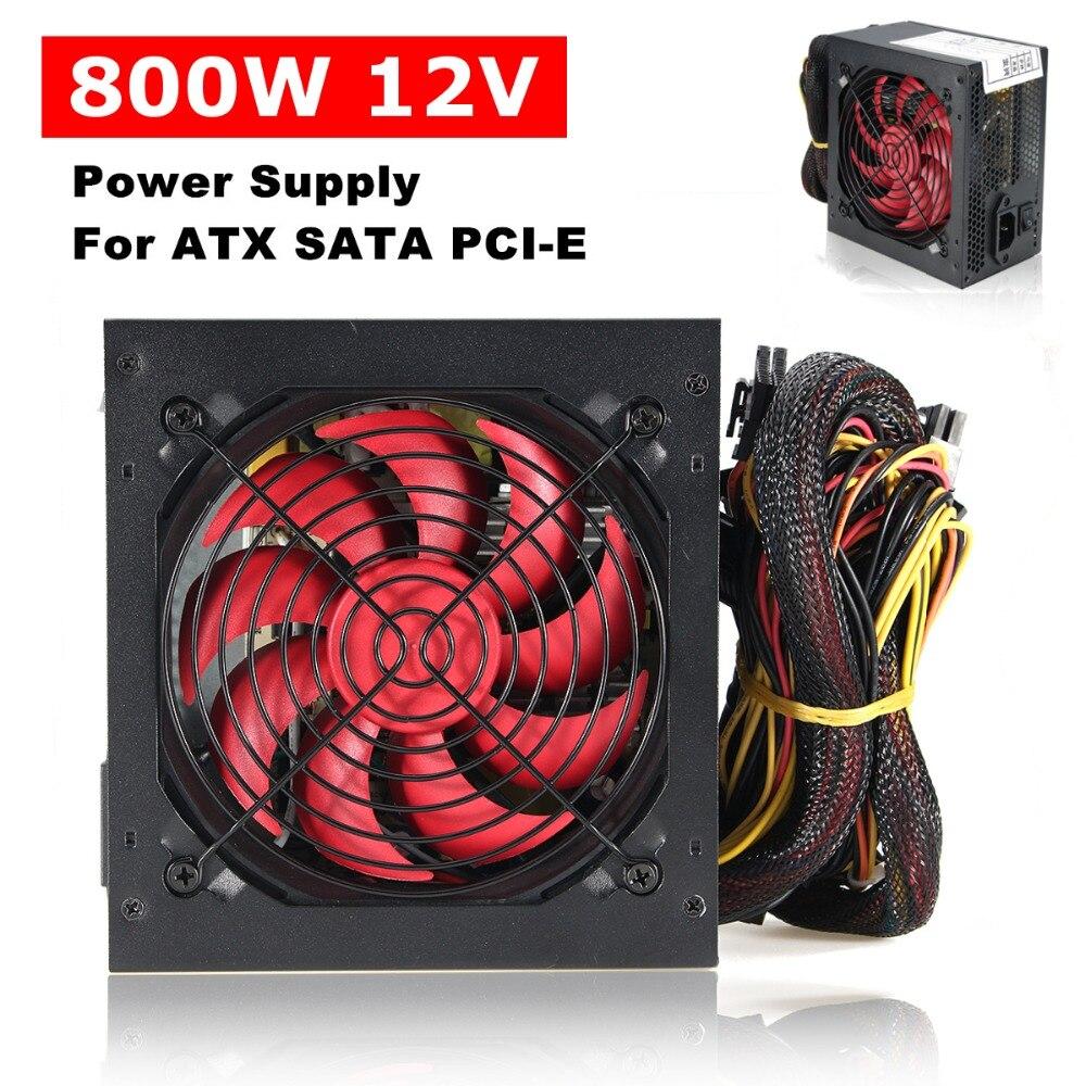 Silencieux 800 Watt 800 W pour Intel AMD PC 12V ATX PC alimentation SLI PCI-E 12CM ventilateur haute qualité ordinateur alimentation pour BTC