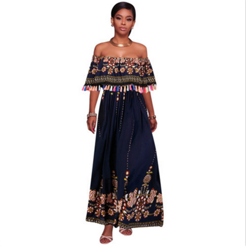 Aliexpress.com : Buy Off Shoulder Ruffle Print Long Dress