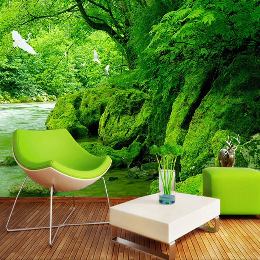 Custom Photo Wallpaper HD Virgin Forest Green Natural Scenery Art Wall Painting For Home Decor Living Room Sofa Background Mural portable media player