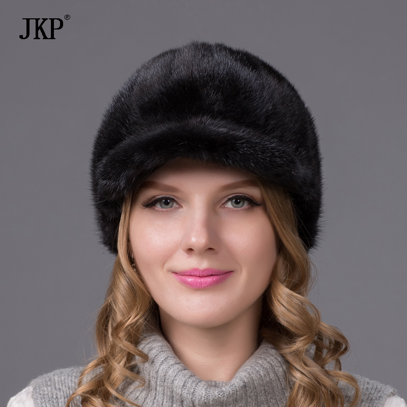 100% Իրական ամբողջ մորթուց Mink Fur Caps Visors - Հագուստի պարագաներ - Լուսանկար 2