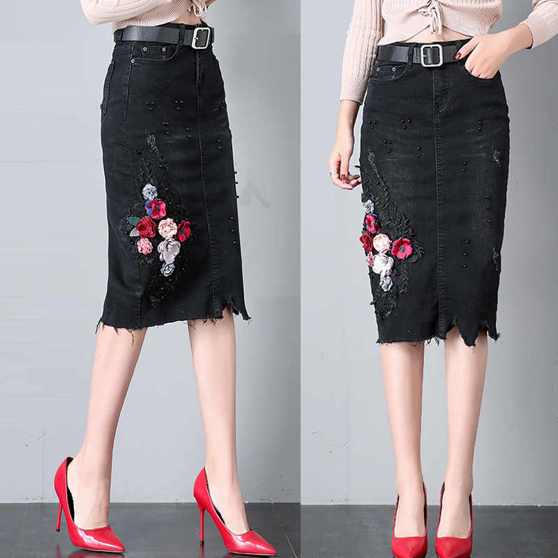 6422d2f8d Summer Fall Fashion Women Ladies Ripped Hole Flower Embroidery Black Pencil  Denim Skirt , Casual Woman
