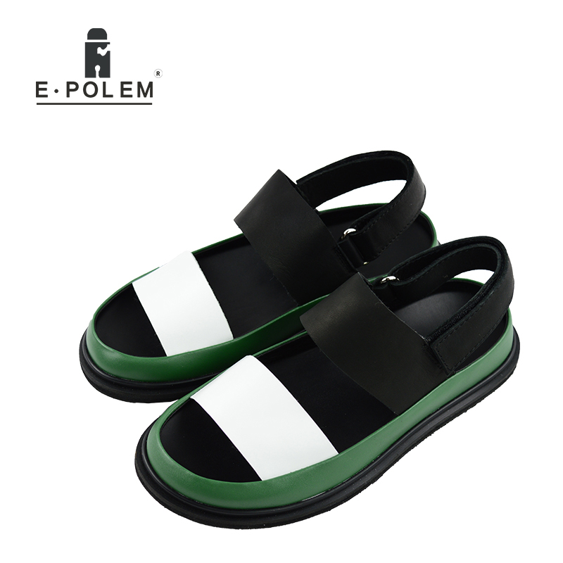 Summer Men Genuine Leather Sandals Breathable Mens Fashion Shoes High Quality Male Platform Rome Sandals Hot Sale