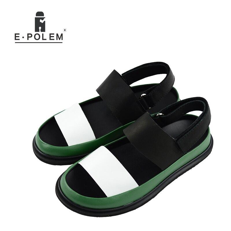 Été hommes en cuir véritable sandales respirant hommes chaussures de mode de haute qualité mâle plate forme Rome sandales offre spéciale-in Sandales homme from Chaussures    1