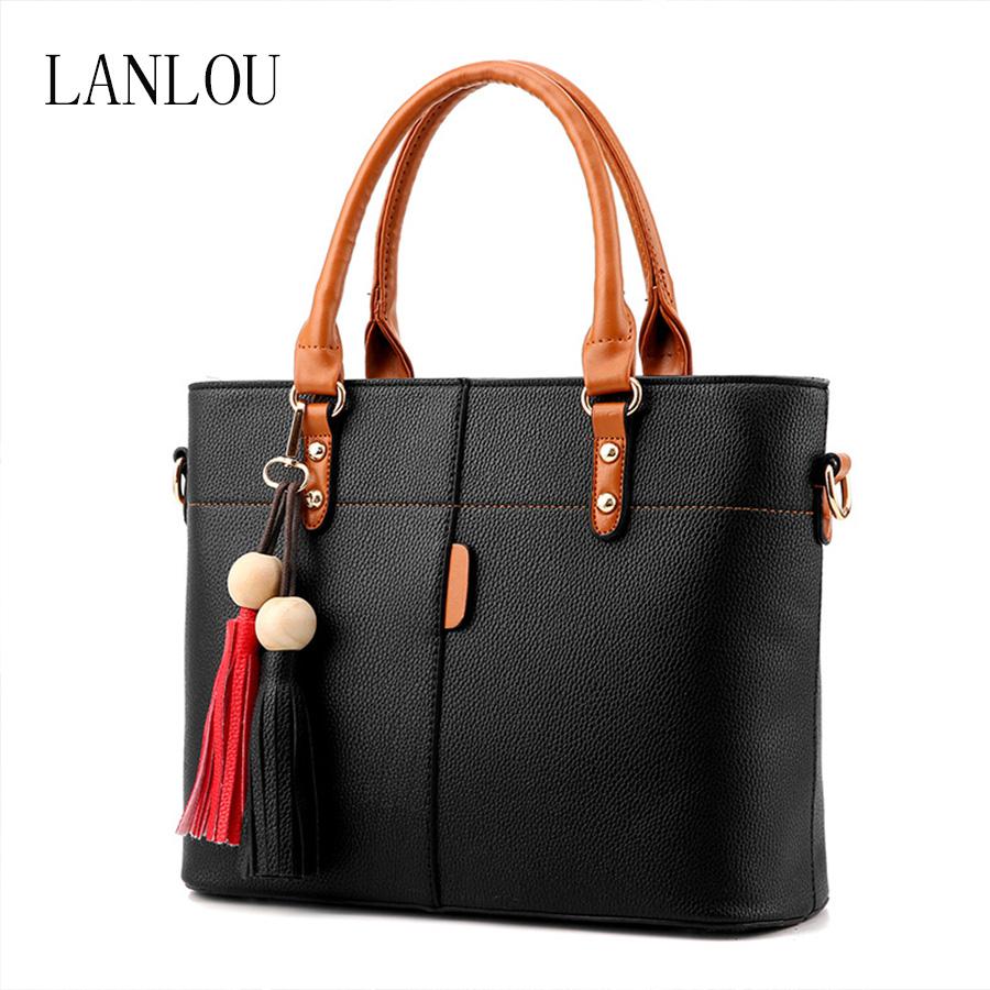 LANLOU Women bags for women 2019 PU Leather Shoulder Bag Double tassel Casual Crossbody Flap Bags Female Messenger Bag Handbags