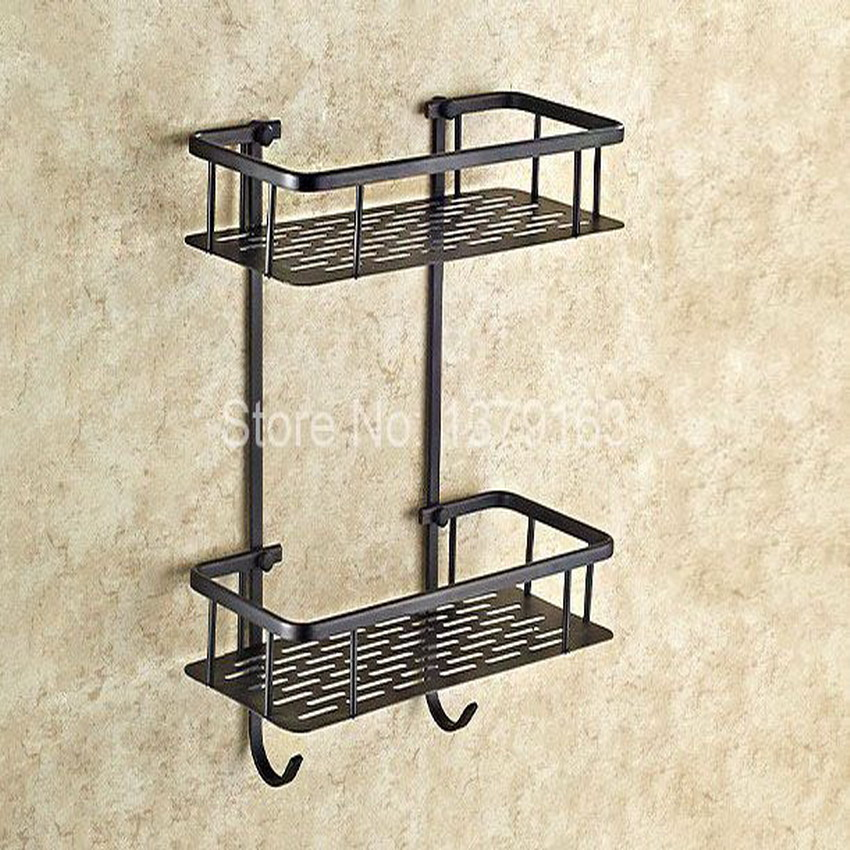 Black Oil Rubbed Brass Bathroom Accessory Dual Tier Shower Soap / Sponge Tray Caddy Basket Wire Storage Rack Wall Mounted aba530 black bathroom shelves stainless steel 2 tier square shelf shower caddy storage shampoo basket kitchen corner shampoo holder