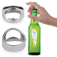 Beichong Unique Creative Versatile Silver Stainless Steel Finger Beer Bottle Opener Ring Jewelry