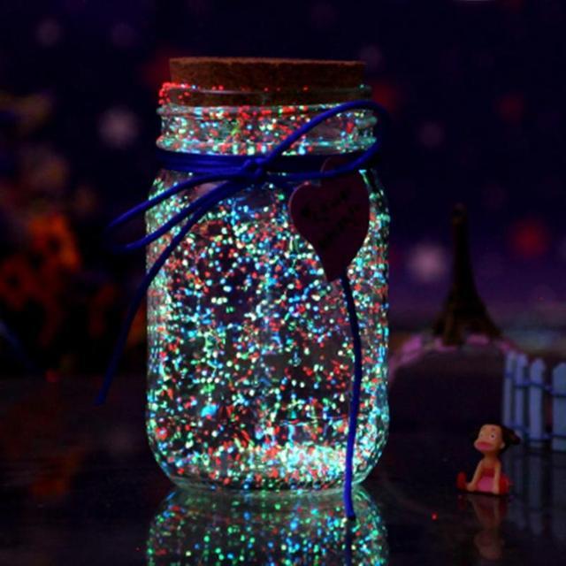Светящиеся в темноте 10 г светящвечерние Вечеринка DIY яркие Серебристые песок краска звезда Желая бутылка флуоресцентные частицы подарок для детей