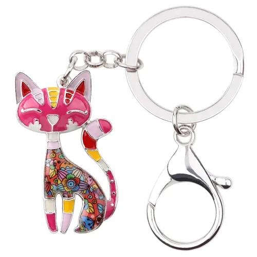 WEVENI Enamel Metal Cat Kitten Key Chain Key Ring HandBag Charm Keychain Accessories New Trendy Jewelry For Women Cat Lover Gift