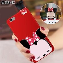 WeiFaJK 3D Cute Cartoon Silicone Phone Case For iPhone 6 6s 7 Case Red Matte Soft TPU Full Cover For iPhone 6 6s 7 8 Plus X Case matte anti fingerprint soft tpu case for iphone 6s 6 4 7 inch black
