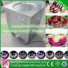 New Smart Digital 220v/110v Single Pan Fried Ice Cream Machine 45CM round Flat Pan Fried Ice Cream Roll Machine