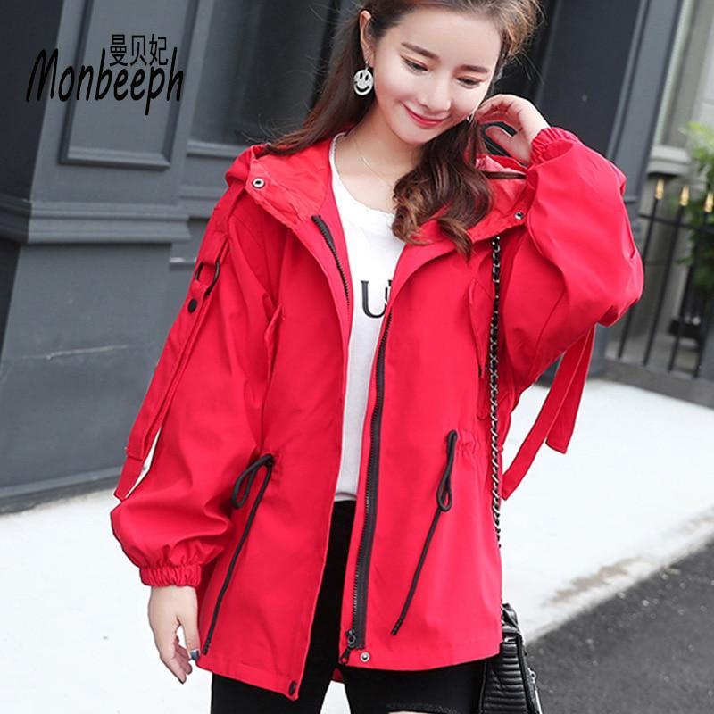 Monbeeph   Basic     Jackets   Women New Fashion Women Hooded   Jacket   Casual Slim Windbreaker Female Outwear Women Coat