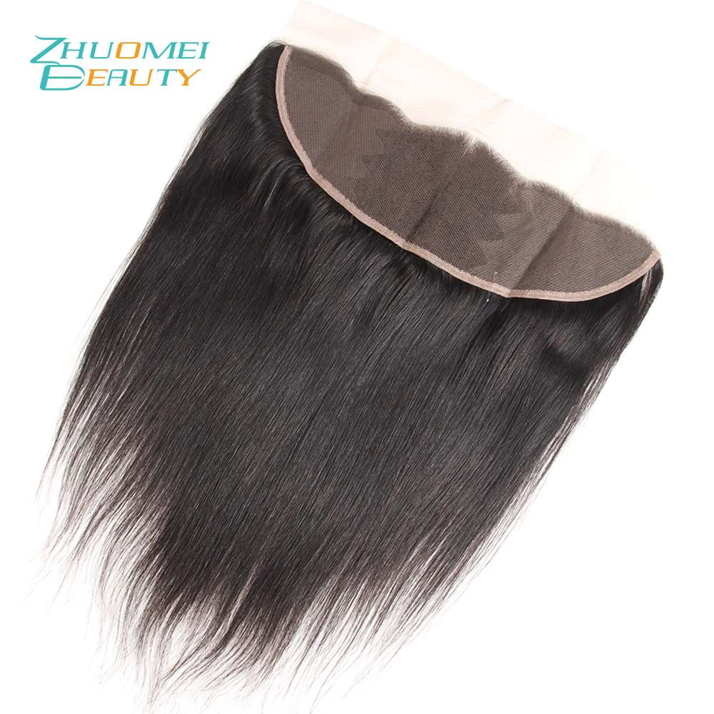 Zhuomei BEAUTY Peruvian Straight Remy Human Hair Lace Frontal Closure With Baby Hair 13*4 Ear To Ear Free Part Clourse 10-20inch