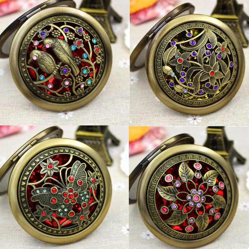 Pocket-Mirror Compact Vintage Double-Sided Gift Folding Cute Round Hollow for Women Lady